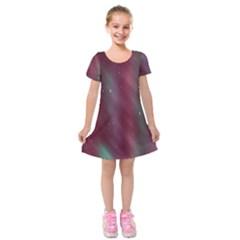 Stars Nebula Universe Artistic Kids  Short Sleeve Velvet Dress