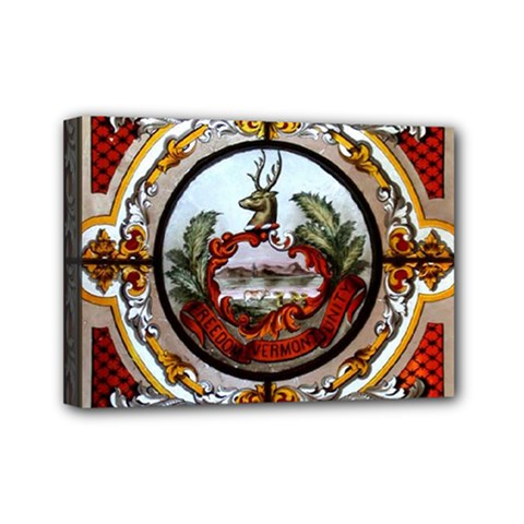 Stained Glass Skylight In The Cedar Creek Room In The Vermont State House Mini Canvas 7  x 5