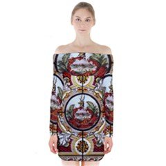 Stained Glass Skylight In The Cedar Creek Room In The Vermont State House Long Sleeve Off Shoulder Dress