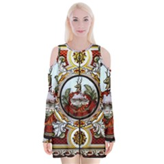 Stained Glass Skylight In The Cedar Creek Room In The Vermont State House Velvet Long Sleeve Shoulder Cutout Dress