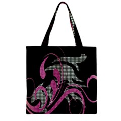 Violet Calligraphic Art Zipper Grocery Tote Bag