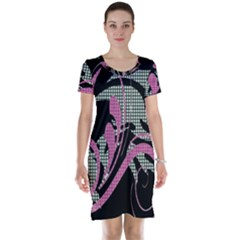 Violet Calligraphic Art Short Sleeve Nightdress