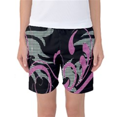Violet Calligraphic Art Women s Basketball Shorts