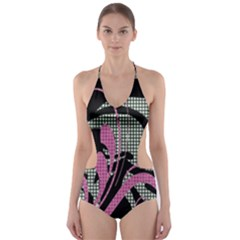 Violet Calligraphic Art Cut-Out One Piece Swimsuit