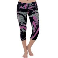 Violet Calligraphic Art Capri Yoga Leggings