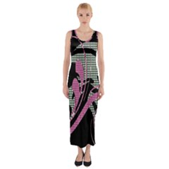 Violet Calligraphic Art Fitted Maxi Dress