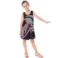 Violet Calligraphic Art Kids  Sleeveless Dress