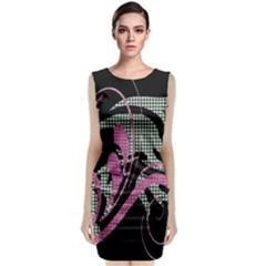 Violet Calligraphic Art Sleeveless Velvet Midi Dress
