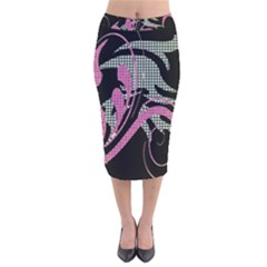 Violet Calligraphic Art Velvet Midi Pencil Skirt