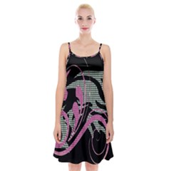 Violet Calligraphic Art Spaghetti Strap Velvet Dress