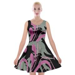 Violet Calligraphic Art Velvet Skater Dress
