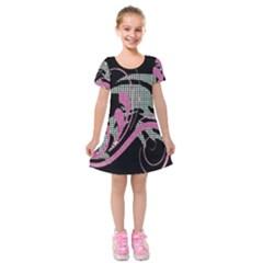 Violet Calligraphic Art Kids  Short Sleeve Velvet Dress