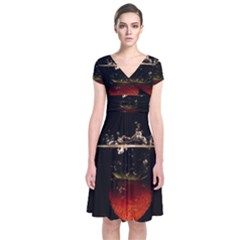Strawberry Short Sleeve Front Wrap Dress