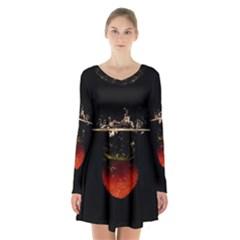 Strawberry Long Sleeve Velvet V Neck Dress
