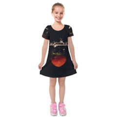 Strawberry Kids  Short Sleeve Velvet Dress
