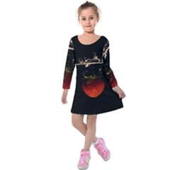 Strawberry Kids  Long Sleeve Velvet Dress