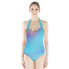 Water Droplets Halter Swimsuit