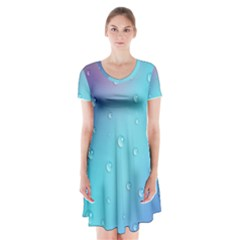 Water Droplets Short Sleeve V-neck Flare Dress