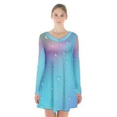 Water Droplets Long Sleeve Velvet V Neck Dress