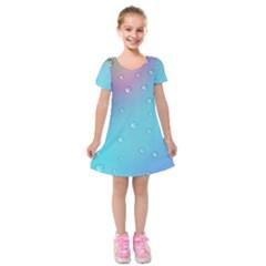 Water Droplets Kids  Short Sleeve Velvet Dress