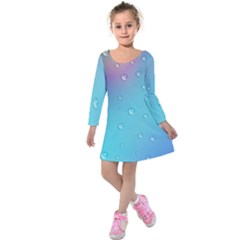 Water Droplets Kids  Long Sleeve Velvet Dress