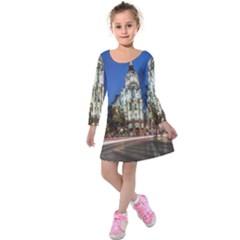 Architecture Building Exterior Buildings City Kids  Long Sleeve Velvet Dress