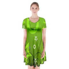 Art About Ball Abstract Colorful Short Sleeve V-neck Flare Dress