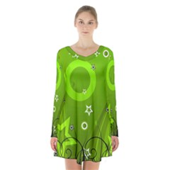 Art About Ball Abstract Colorful Long Sleeve Velvet V Neck Dress