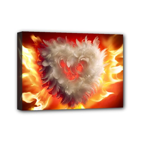 Arts Fire Valentines Day Heart Love Flames Heart Mini Canvas 7  x 5