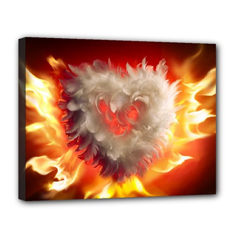 Arts Fire Valentines Day Heart Love Flames Heart Canvas 14  x 11