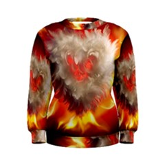 Arts Fire Valentines Day Heart Love Flames Heart Women s Sweatshirt