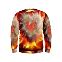 Arts Fire Valentines Day Heart Love Flames Heart Kids  Sweatshirt