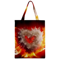 Arts Fire Valentines Day Heart Love Flames Heart Zipper Classic Tote Bag