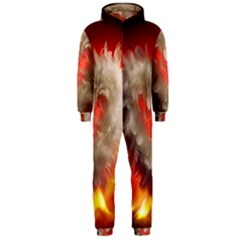 Arts Fire Valentines Day Heart Love Flames Heart Hooded Jumpsuit (Men)