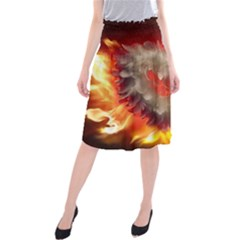 Arts Fire Valentines Day Heart Love Flames Heart Midi Beach Skirt