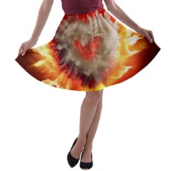 Arts Fire Valentines Day Heart Love Flames Heart A-line Skater Skirt