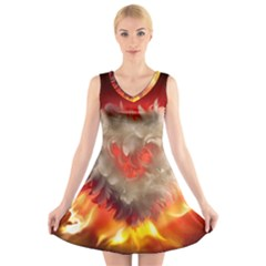 Arts Fire Valentines Day Heart Love Flames Heart V-Neck Sleeveless Skater Dress