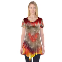 Arts Fire Valentines Day Heart Love Flames Heart Short Sleeve Tunic