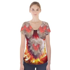 Arts Fire Valentines Day Heart Love Flames Heart Short Sleeve Front Detail Top