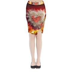 Arts Fire Valentines Day Heart Love Flames Heart Midi Wrap Pencil Skirt