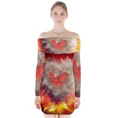 Arts Fire Valentines Day Heart Love Flames Heart Long Sleeve Off Shoulder Dress