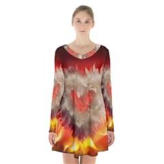Arts Fire Valentines Day Heart Love Flames Heart Long Sleeve Velvet V Neck Dress
