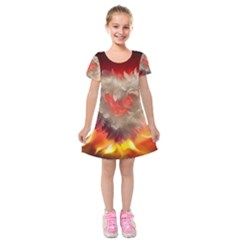 Arts Fire Valentines Day Heart Love Flames Heart Kids  Short Sleeve Velvet Dress
