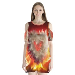 Arts Fire Valentines Day Heart Love Flames Heart Shoulder Cutout Velvet  One Piece