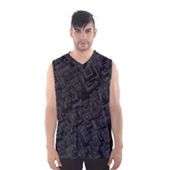 Black Rectangle Wallpaper Grey Men s Basketball Tank Top