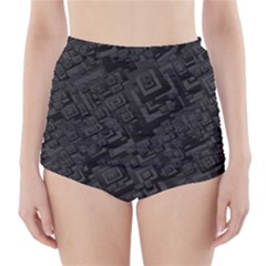Black Rectangle Wallpaper Grey High-Waisted Bikini Bottoms