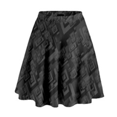 Black Rectangle Wallpaper Grey High Waist Skirt