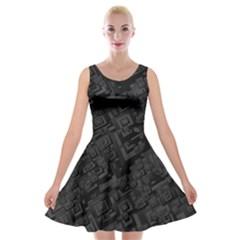 Black Rectangle Wallpaper Grey Velvet Skater Dress