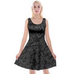 Black Rectangle Wallpaper Grey Reversible Velvet Sleeveless Dress