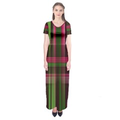 Background Texture Pattern Color Short Sleeve Maxi Dress
